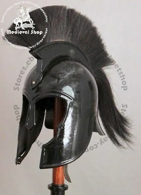 Achilles Troy Medieval Armor Helmet Halloween Costume With Black Plume MS336