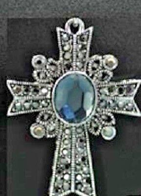 CROSS CHRISTIAN JESUS GOD RELIGIOUS FILIGREE BLUE NWT BEAUTIFUL NECKLACE -