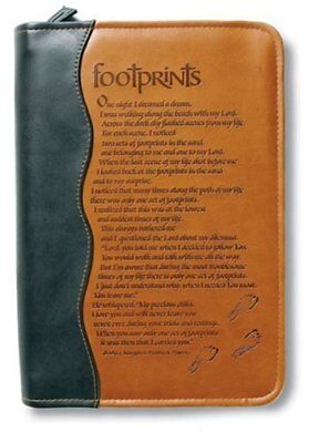 Italian Duo Tone Footprints Large Bible Cover by Zondervan Publishing Brand New
