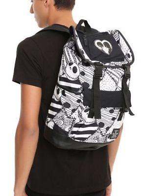Nightmare Before Christmas Black & White Jack & Sally  Print Slouch Backpack