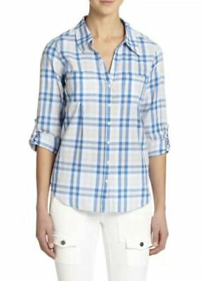 Joie Womens Shirt Size L Cartel Plaid Cotton Roll Sleeve  Blue/White/Peach Oasis
