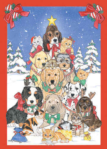 Dog with Cat Group Critter Tree Christmas Cards Set of 10 cards & 10 envelopes