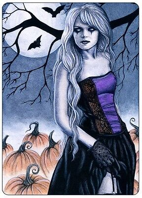 Halloween Gothic ACEO PRINT Art Pumpkins Bats Moon WC](Halloween Art Pumpkins)