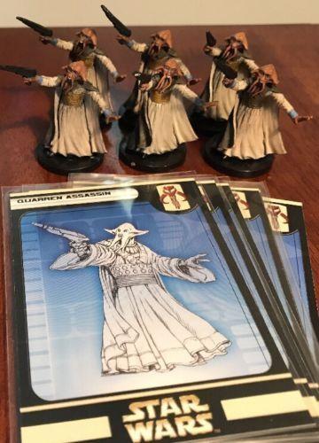 HUGE Lot of 6 Quarren Assassin 54/60 Game Figures with Cards