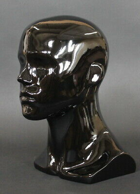 13.5 In H Male Head Mannequin Bust Form Display Mannequin Glossy Black Mh8-hb