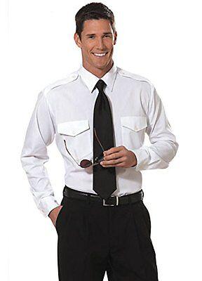 The Aviator Pilot Shirt by Van Heusen - Men's Long Sleeve White Uniform Shirt (Pilot Uniform)