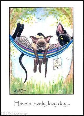 ORIGINAL LARGE DEVON REX CAT & KITTEN PAINTING BIRTHDAY CARD BY SUZANNE LE GOOD