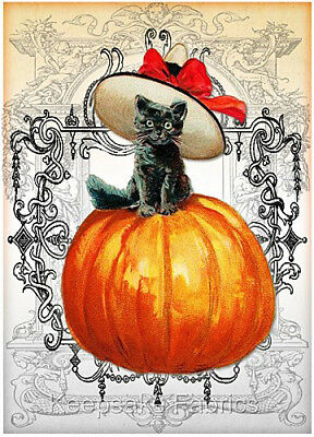 Halloween Black Cat Pumpkin Collage Quilt Block Multi Sz FrEE ShiP WoRldWiDE (F6