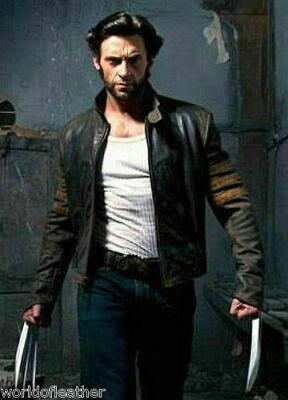 X-Men Wolverine Film Schwarz Biker Echtleder Kostüm Jacke - Biker Kostüm Männer