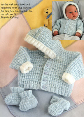 "Easy Jacket with Hood Mitts Bootees Prem 10""- 20"" DK Baby Knitting Pattern"