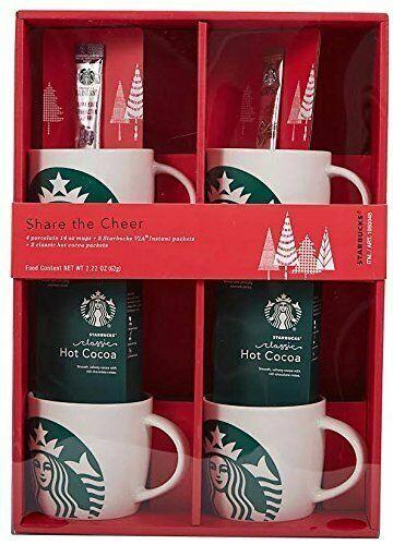 Starbucks Gift Pack - 4 Porcelain 14oz Mugs, 2 Via Instant &