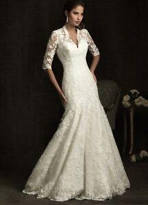 Noble-Ivory-lace-Mermaid-Wedding-Dress-Bridal-Gown-Size-4-6-8-10-12-14-16