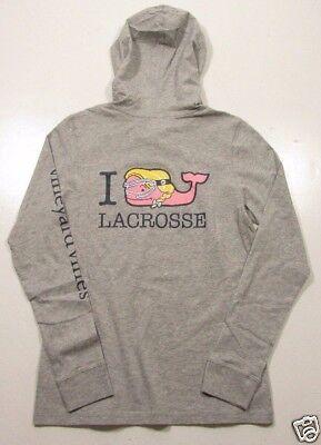 Vineyard Vines Womens L S Gray Heather I Whale Lacrosse Hooded Pocket T Shirt