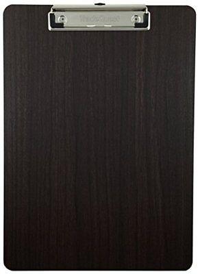 Clipboard Dark Wood Grain Vinyl Surface Low Profile Fiber Hardboard Single Pack