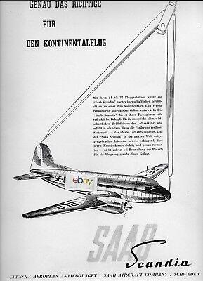 SAAB SWEDEN SCANDIA AIRLINER TWIN AIRLINER GERMAN 1947 AD for sale  Monterey