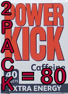 80 (2X40) POWER KICK CAFFEINE EXTRA ENERGY/ALERTNESS TABLETS PILLS XTRA STAMINA