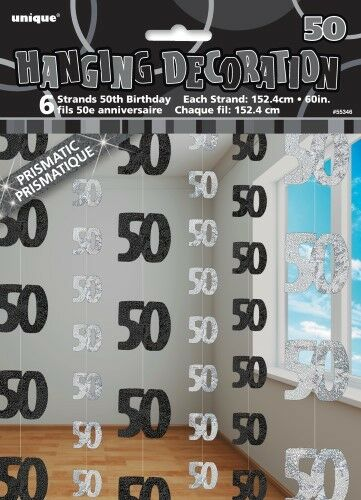 GLITZ BLACK 6 HANGING DECORATIONS 50TH BIRTHDAY 1.5M/5' BIRTHDAY PARTY SUPPLIES