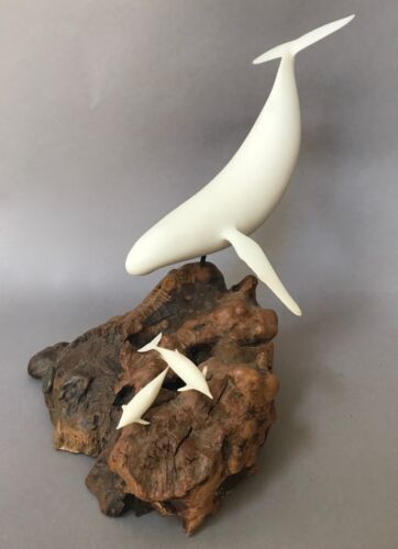BEAUTIFUL Humpback WHALE w Bottlenose Dolphins ON BURL WOOD by JOHN PERRY #0481