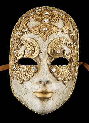 Mask from Venice Face Volto Woman Paper Mache Macrame Golden 2312 X26