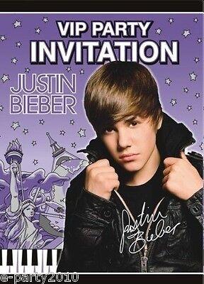 JUSTIN BIEBER VIP PARTY INVITATIONS (8) ~ Birthday Supplies Stationery Invites - Justin Bieber Invitations