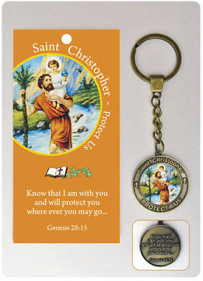 SAINT CHRISTOPHER KEYRING PATRON SAINT TRAVELLERS GUARDIAN ANGEL OTHERS LISTED