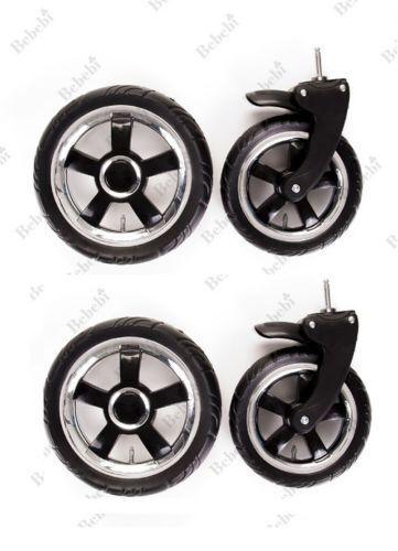 4 Stück Komplettsett Vorder und Hinter Kinderwagenrad Kinderwagen Räder