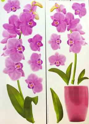 ORCHIDS wall stickers purple lilac 13 decal room decor flower pot  floral - Purple Room Decor