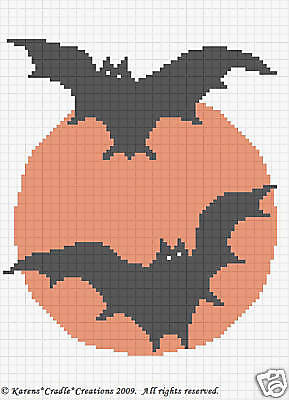 Halloween Bat Crochet Patterns (HALLOWEEN BATS Crochet Afghan Chart Pattern)