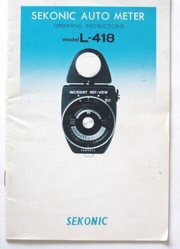Sekonic L418 Auto Meter Instruction Manual