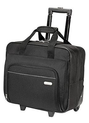 Black 16in Laptop Wheeled Case Roller Notebook Compartment Computer Storage Bag