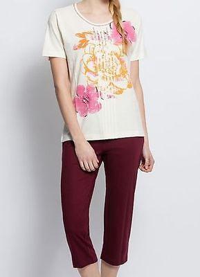 Capri Pyjama - Gr. 36/38 - rot/bunt - Blütendruck - Bigshirt - Nachthemd ()