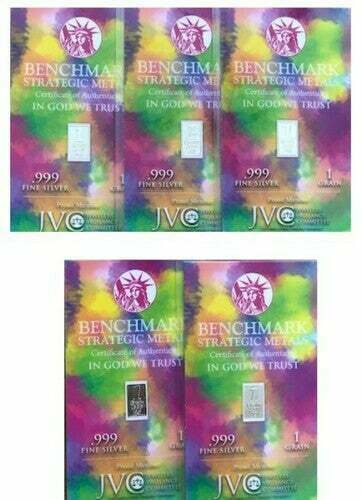 GET 5 x 1 Grain .999 Fine Pure Silver Bar in Collectible Sealed Colorful Package