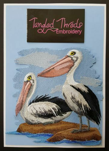 """Pelican, Bird, Embroidered Path 4.8""""x 4.7"""""""