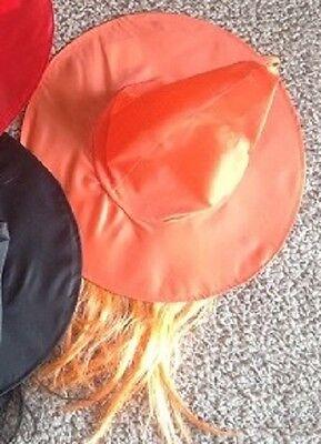 Halloween Orange Witch Hat with Orange Hair](Halloween Hats With Hair)