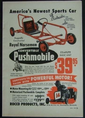 1959 Royal Norseman Pushmobile Go Kart Ice Sled original vintage AD Rocco