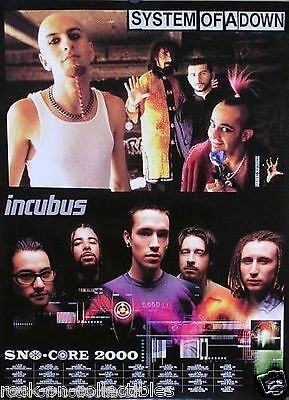 Incubus 2000 Sno-Core System of A Down Original Promo Poster