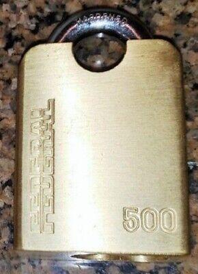 Federal Lock 500 Kw1 Key-shrouded Rekeyable Brass Padlockhasp 1ea.new