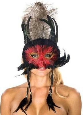 Black And Red Mask Masquerade (Red and Black Feathers Venetian Mask with dangling Feathers Masquerade Eye)