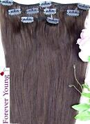 Clip in Human Hair Extensions Medium Brown