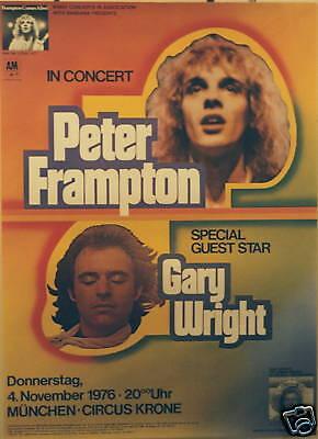 PETER FRAMPTON GARY WRIGHT CONCERT TOUR POSTER 1976