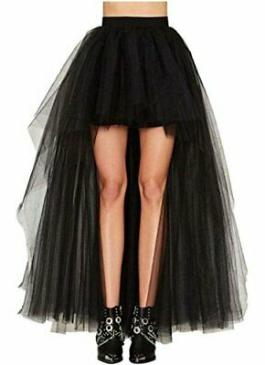 LUOOV Steampunk Gothic Victorian High Low Skirt, Black Gauze, Size 4X-Large xNOD