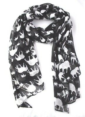 Black Elephant Animal Print Ladies Fashion Maxi Scarf Wrap Sarong Long Soft Warm