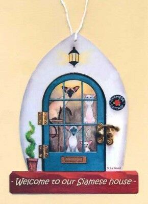 Siamese Cat house welcome sign from original painting laminated Suzanne Le Good