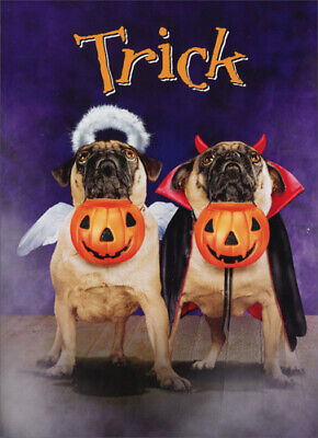 Two Pugs In Costumes Stand Out Pop Up Funny Dog Halloween Card by Avanti Press](Halloween Pop Out Card)