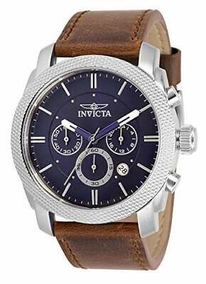 Invicta Men's 30811 Aviator Quartz Multifunction Blue Dial Brown Leather Watch