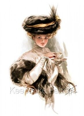 Victorian Lady Tea Time  Fabric Block Multi Sizes FrEE ShiPpInG WoRld WiDE ()