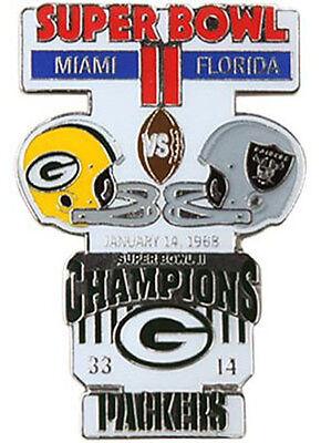Super Bowl 2 II Green Bay Packers vs Oakland Raiders Final Score Pin LARGE (Green Bay Packers Last Super Bowl)