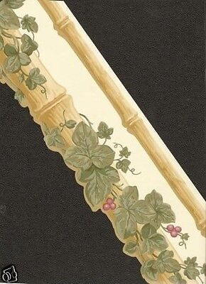 DIE-CUT BAMBOO WITH  IVY Wallpaper bordeR (Die Cut Wall Border)