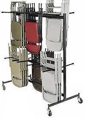 New National Public Seating Heavy Duty 84 Standing Folding Chair Rack W Wheels