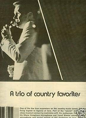 BILL ANDERSON 1973 Shure Sound System PROMO POSTER AD